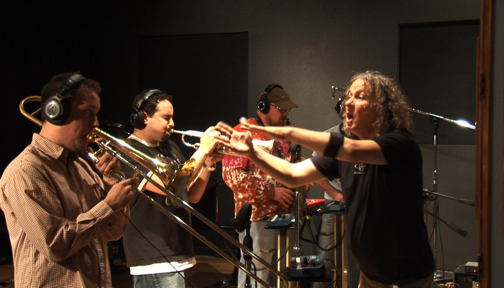 Conducting horns at Backbone for Great American Taxi